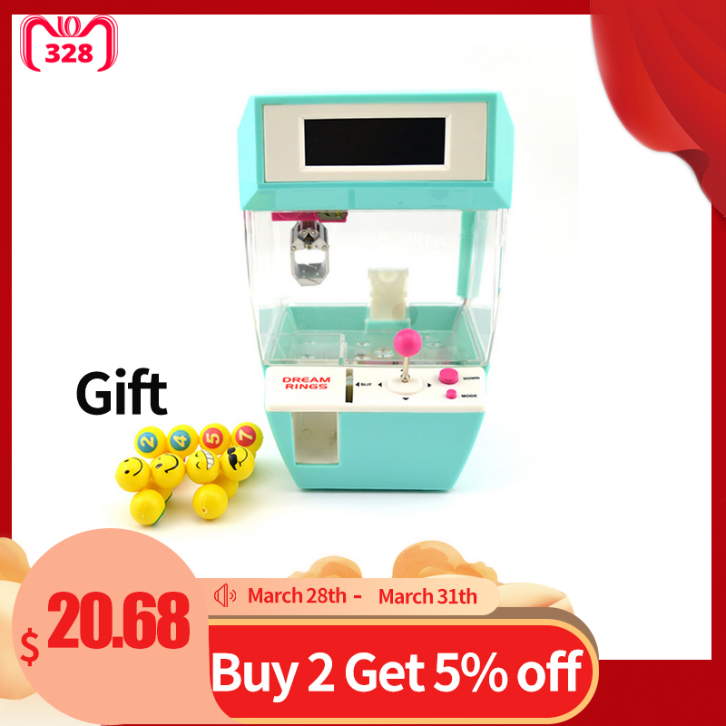 Coin Operated Candy Grabber Desktop Doll Candy Catcher Novelty Gag Toys Crane Machine wtih Alarm Clock Function Balls Random