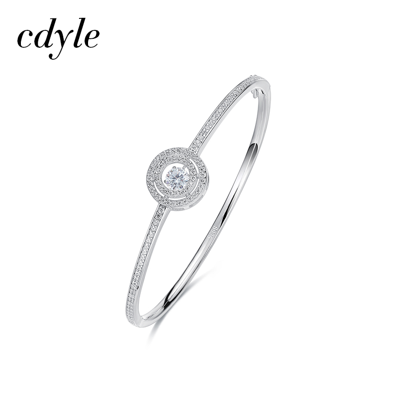 Cdyle S925 Sterling Silver Bangle Women Bracelet Bangle Dancing Stone Fashion Jewelry Austrian Rhinestone Paved Elegant