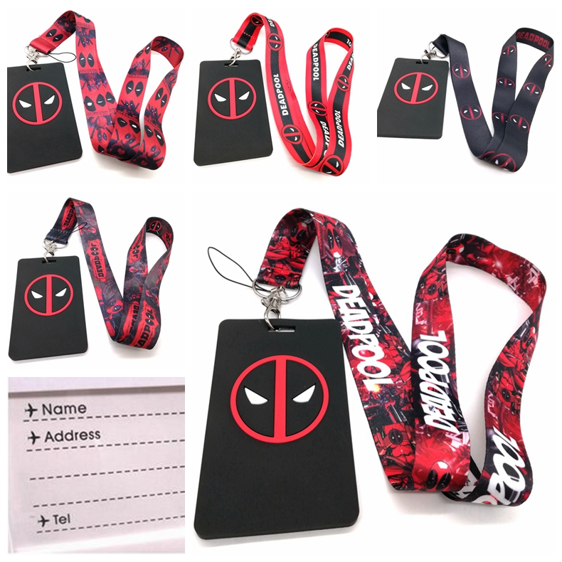 5 Pcs Cartoon Deadpool Named Card Holder Identity Badge With Lanyard Neck Strap Card Bus ID Holders With Key Chain