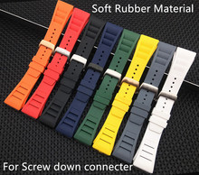 20mm Soft quality Imported Nature Soft Silicone Rubber Watchband For Richard Watch Mille Strap band Bracelet butterfly buckle(China)