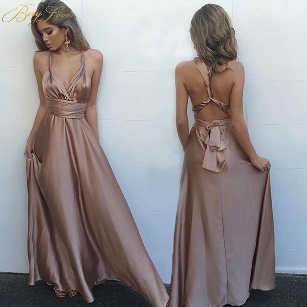 BeryLove longue robe de soirée Champagne 2019 bretelles entrecroisées pli Simple Satin robe grande taille plaine femmes formelle robe de bal