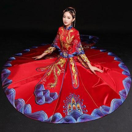 Vintage Blue Cheongsam Modern Chinese Traditional Wedding Dress Women Vestido Oriental Collars Elegent Long Qi Pao Size S-XXL 8