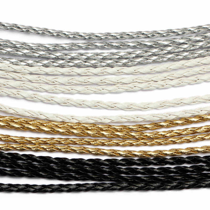 REGELIN 5meter 3mm black/white Braided PU Leather Bracelet Findings Round Leather Cord String Rope DIY Necklace Bracelet Making