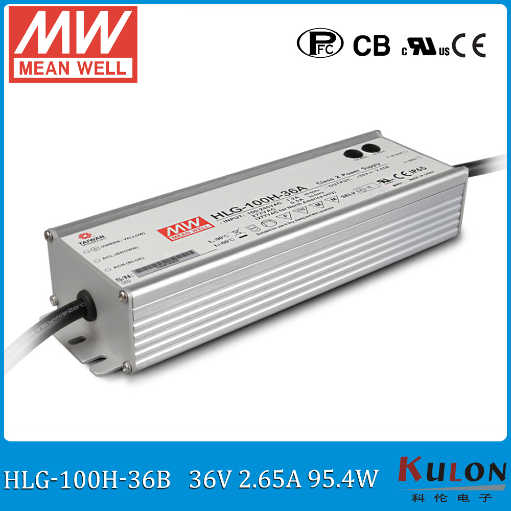 Original Mean Well Hlg 100h 36b 100w 265a 36v Dimming Power 24v Supply 65a Single Output Ip67 Waterproof Meanwell With Pfc