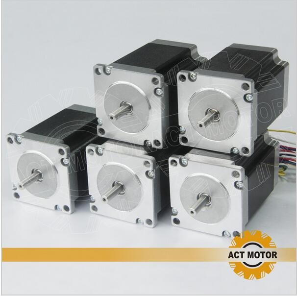 ACT Motor 5PCS Nema23 Stepper Motor 23HS6620B Dual Shaft 185oz-in 56mm 2A 6-lead 2Ph CE ROHS ISO CNC Router Laser Metal Machine cgi sys