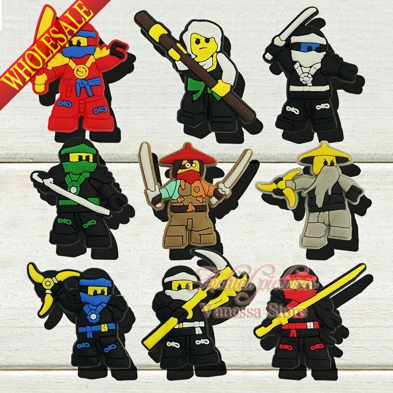 9pcs/set Super Heroes Ninja PVC Shoe Charms Shoe Accessories Decoration Fit Bands Bracelets Croc JIBZ Shoe Buckles Ornaments