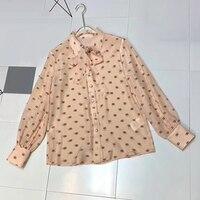 Модная блузка с винтажным принтом и длинным рукавом 2019 весна осень блуза с бантом женская блузка шелковая Женская Высококачественная Блузк