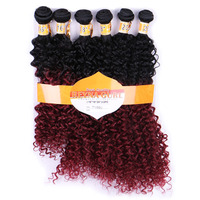 DELICE 6bundles Pack Women Ombre T1 99J Hair Weaving Kinky Curly Hair Extensions Weft Synthetic Hair