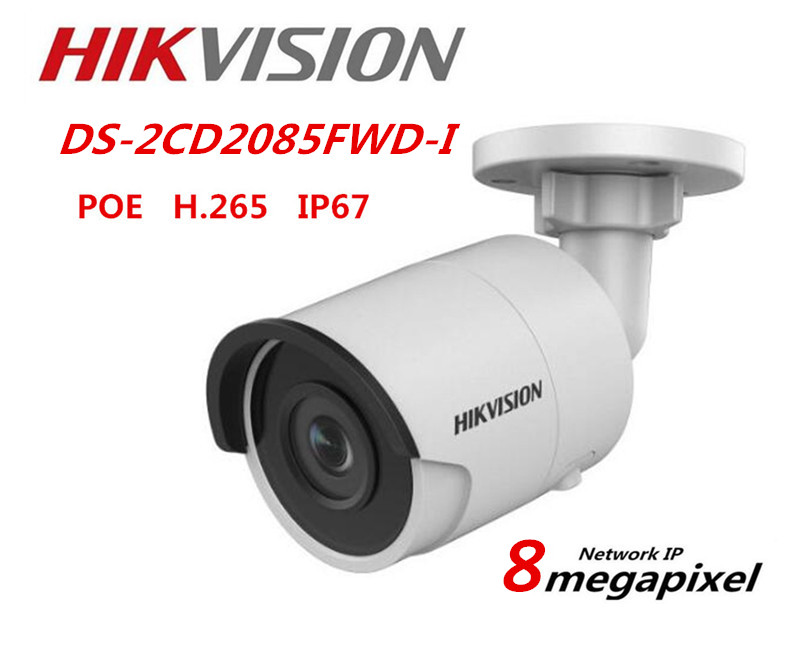 Hikvision English Version DS-2CD2085FWD-I 8MP H.265 Network mini Bullet CCTV Security Camera ONVIF HIK-Connect EZVIZ Outdoor 8mp ip camera cctv video surveillance security poe ds 2cd2085fwd is audio for hikvision dahua dvr hik connect ivm4200 camcorder