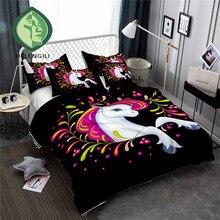 HELENGILI 3D Bedding Set Unicorn Print Duvet cover set lifelike bedclothes with pillowcase bed home Textiles #DJS-12
