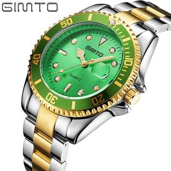 Luxury Men Gold Watch Top Brand Antique Unique Style Dress Business Man Quartz-watch GIMTO Simple Casual Male Golden Clock  đồng hồ gucci dây nam châm