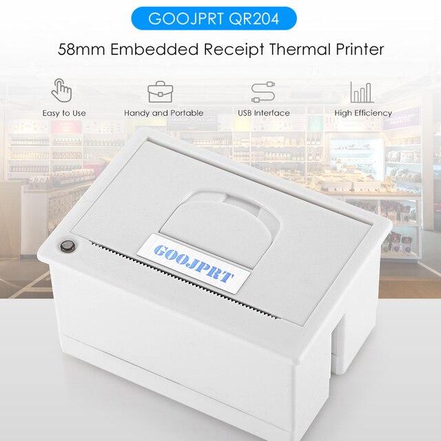 GOOJPRT QR204 58mm Super Mini impresora térmica de bajo ruido integrada Puerto USB opcional interfaz térmica de impresora diferente