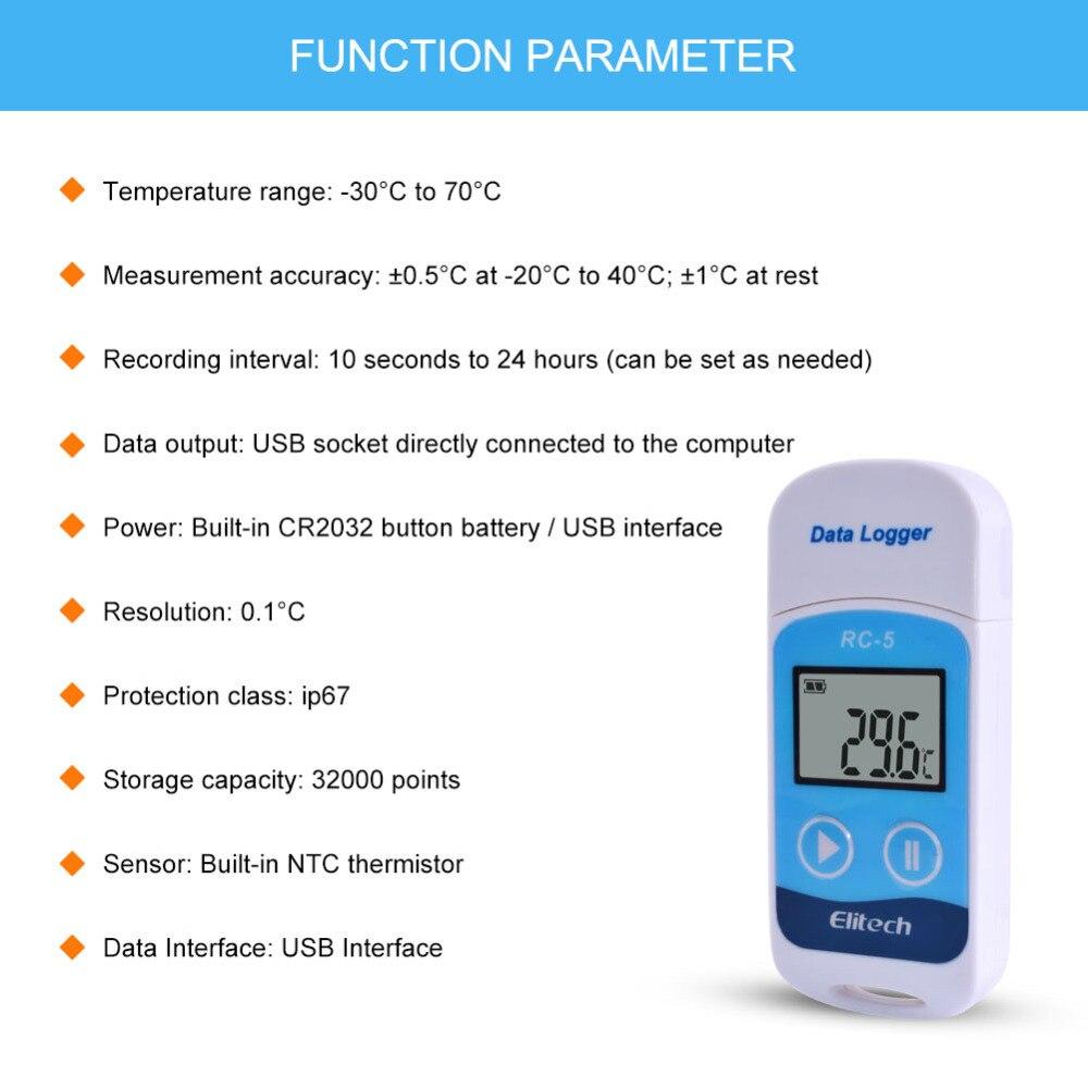 5 ピース/ロット RC 5 デジタル USB 温度データロガーの倉庫保管、冷蔵、冷蔵と実験室  グループ上の ツール からの 温度計測機器 の中 3