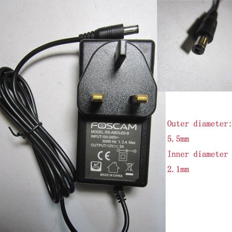 FOSCAM Original 12V 3A 3000mA  AC-DC Adaptor Power Supply For NVR FN3109H
