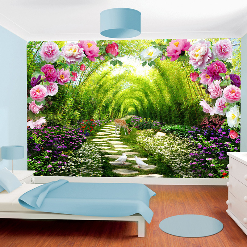 Custom Wall Murals Non Woven Printing Wall Paper Painting Bright Peony  Florals Living Room Bedroom Decor Wallpaper For Walls 3d  In Wallpapers  From Home ... Part 40