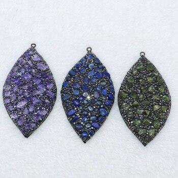 e04f1bf29ad3 Manera al por mayor color de la mezcla forma de hoja colgante para collar  pavimenta el rhinestone y minúsculo Natural piedra de la joyería pendiente  4728