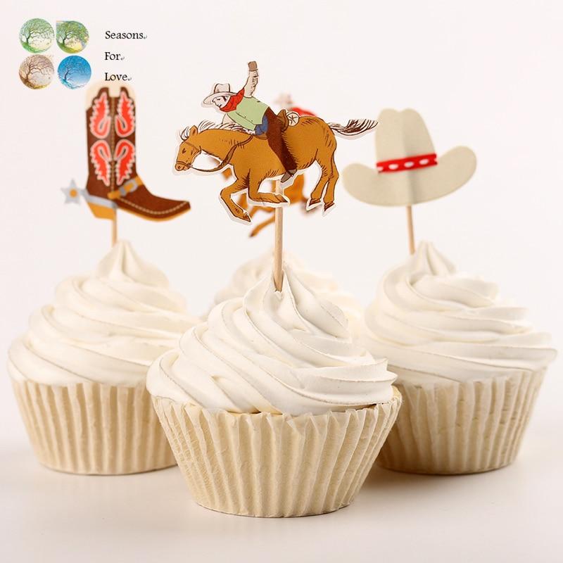 24pcs cupcake toppers <font><b>cup</b></font> cake picks souvenir baby shower print cartoon <font><b>cowboy</b></font> <font><b>birthday</b></font> party decoration kids party supplies