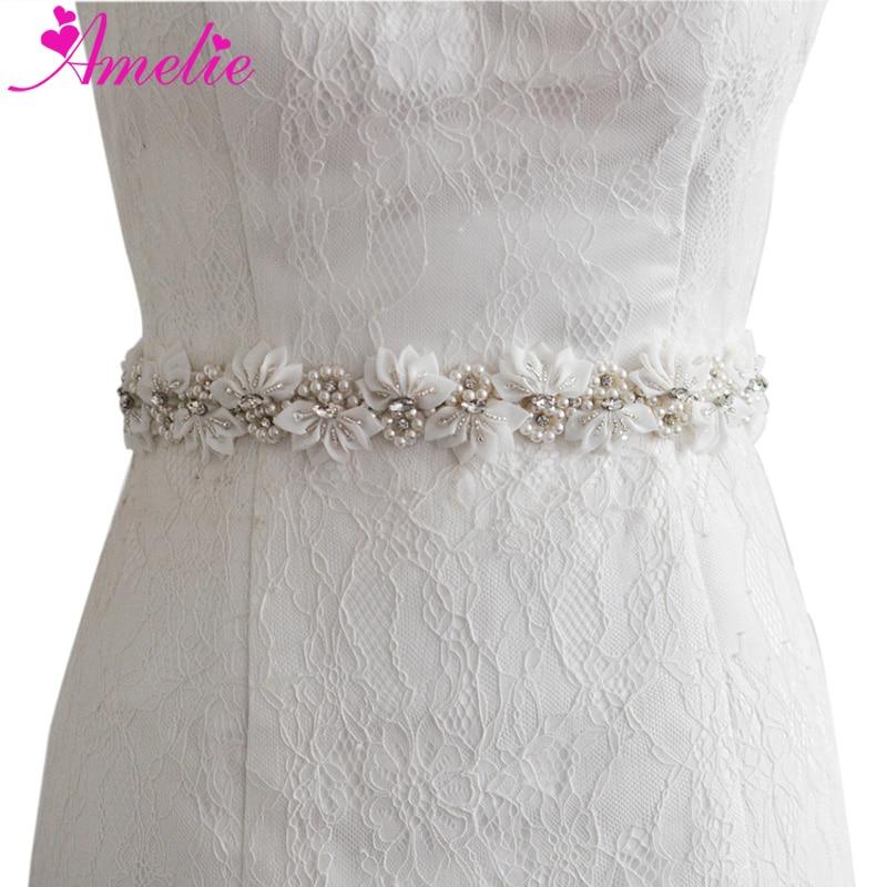 Wedding Bride Sash Bridal Dress Belt Crystal Appliqué Wedding Belt