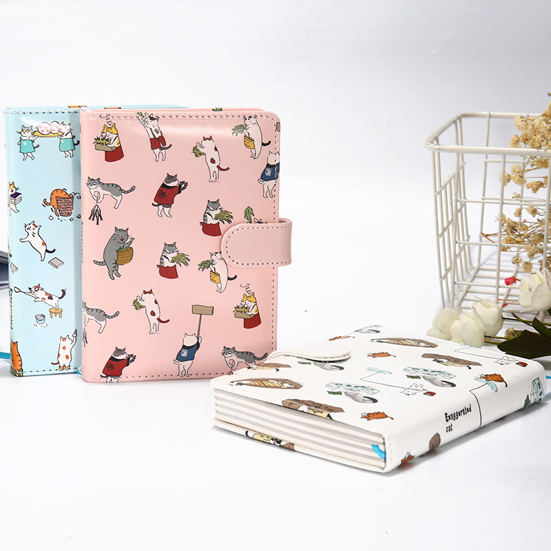 Cute Cat Notebook Leather Cover Planner Diary Note Book for School Stationery Bookmark Bullet Journal High Quality Agenda 2019 cute notebook stationery hobonichi cover journal notebook planner agenda 2019 fashion diary notebook gift bullet journal defter