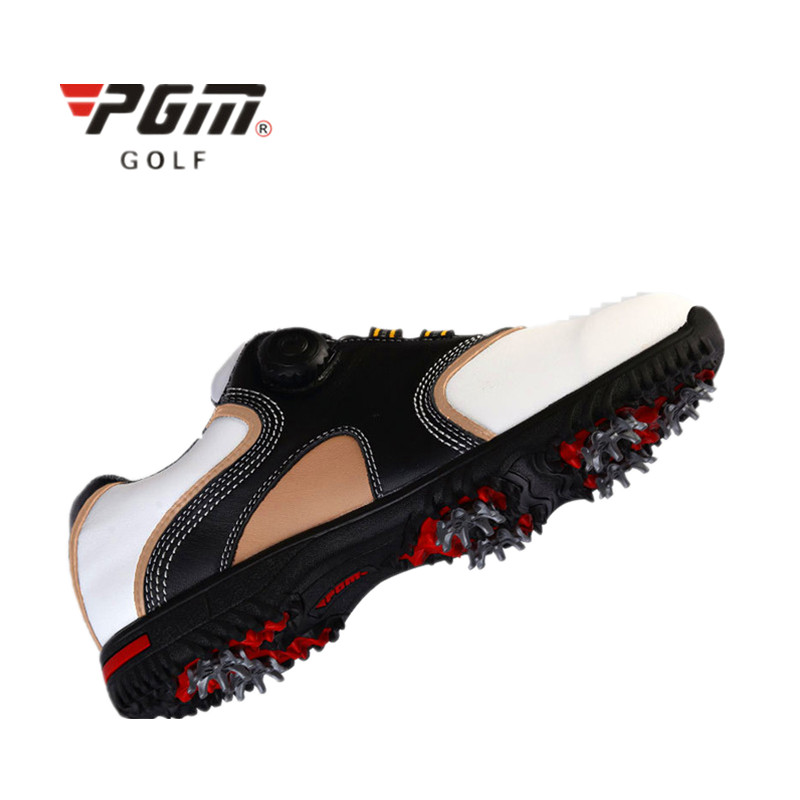 Pgm 2017 New Golf Shoes Male First Layer Of Leather Activities Nail Automatic Rotation Shoelace Waterproof Super-fiber Fabric microfiber leather breathable waterproof patent men sport shoes activities nail anti skid good grip resistant golf shoes