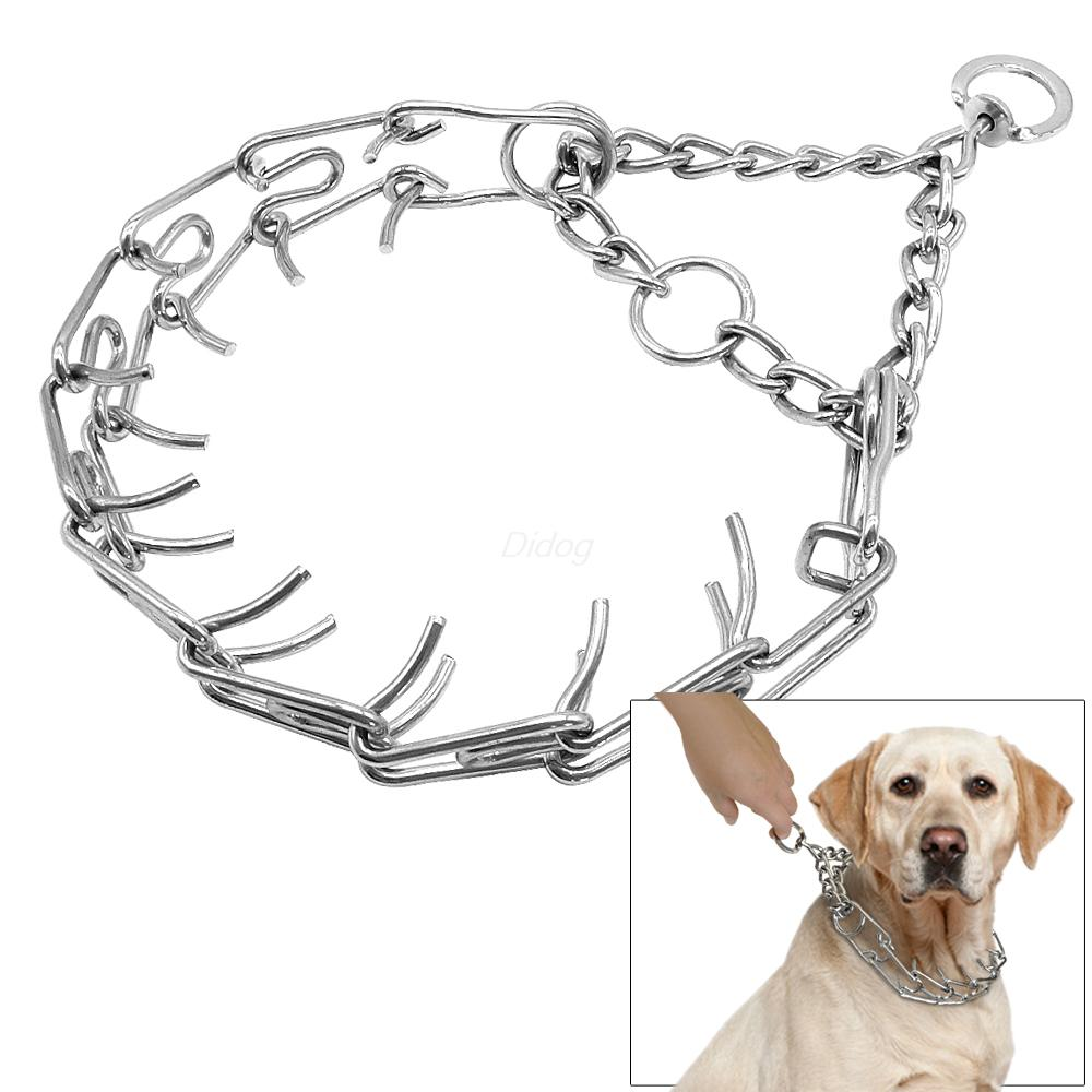 Professional Metal Pinch Dog Training Chain Collar Prong Pet Choke Collars