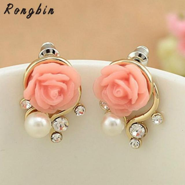 Jewelry New Brand Design Gold Rose Pearl Stud Earrings For Women 2017 Accessories Whole