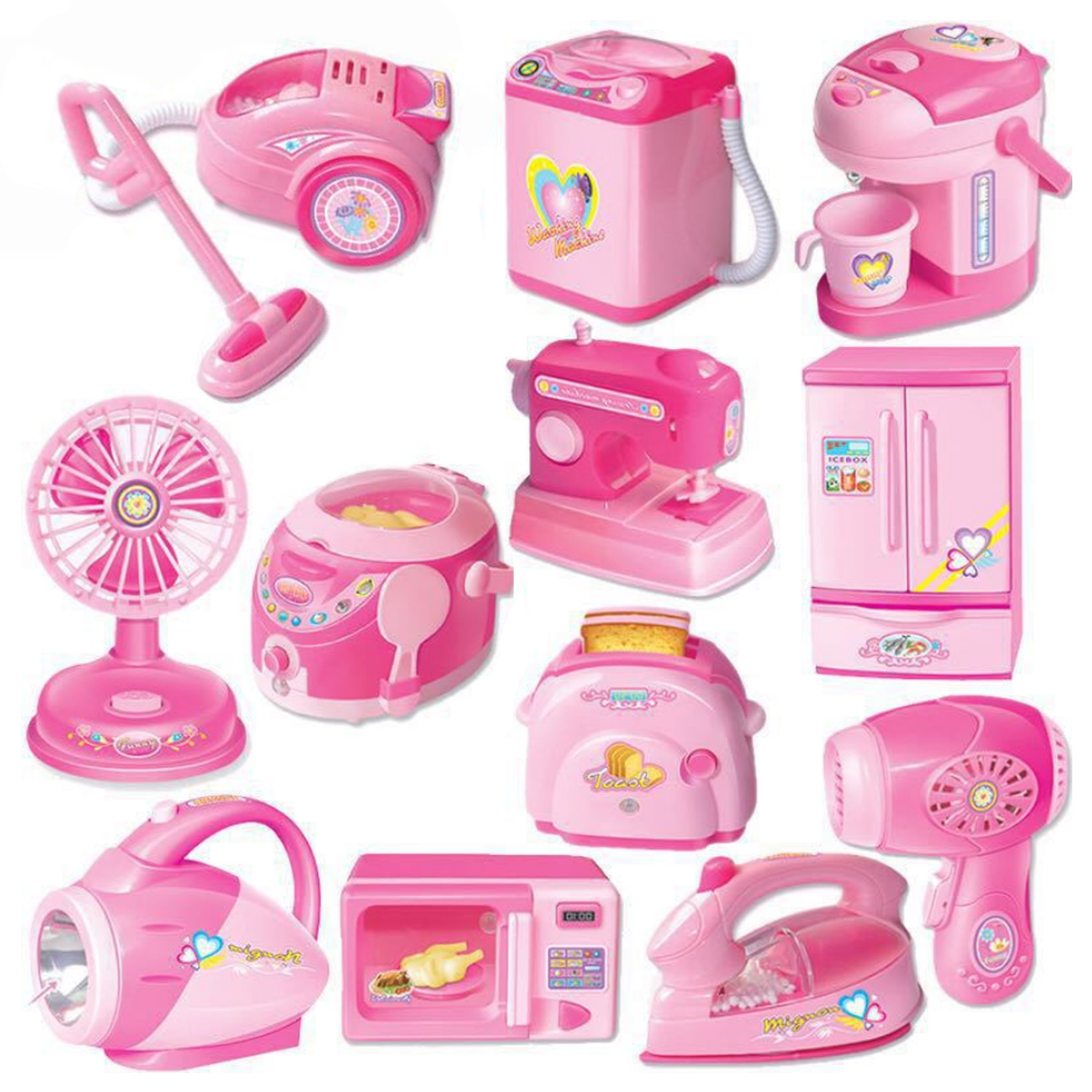 12pcs Kid DIY Mini Home Appliance Set Household Appliances Electric Iron Toaster Vacuum Cleaner Washing Machine Pretend Play Toy