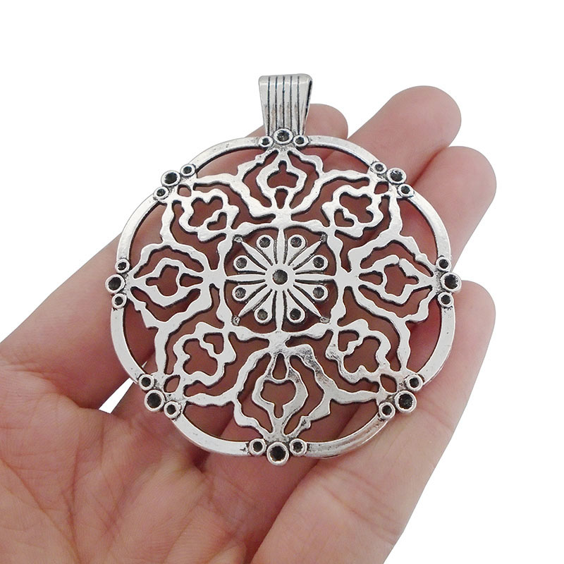 2x Tibetan Silver Large Open Flower Charms Pendant for Necklace Jewellery Making