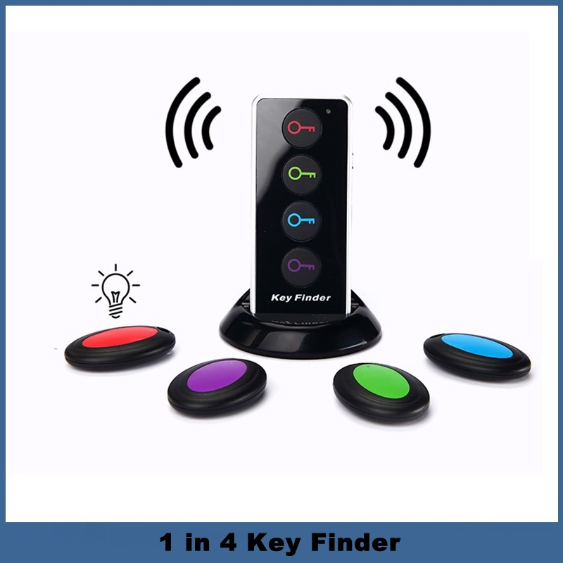 Newest 1 in 4 Key Finder Anti-lost Tracker Electronic Finder Wireless Key Searching Device for Wallet Phone Bag 1 pcs wireless audio signal scanner anti camera personal security hidden finder gps tracker device 2g 3g 4g bug finder ra