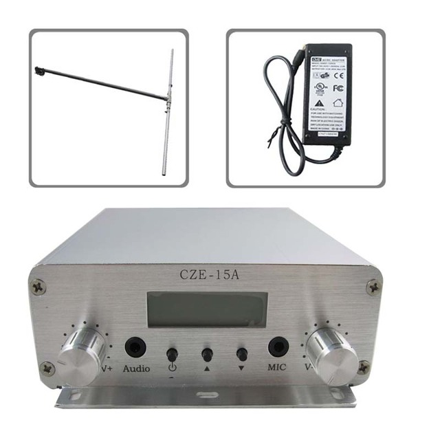 Free shipping czh cze-15A15W stereo PLL FM transmitter broadcaster dipole antenna power KIT