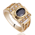 Men Jewelry Solid 925 Sterling Silver Ring Gold Color Band 7x9mm Oval Cubic Zirconia CZ Set R127 Size 9 to 13