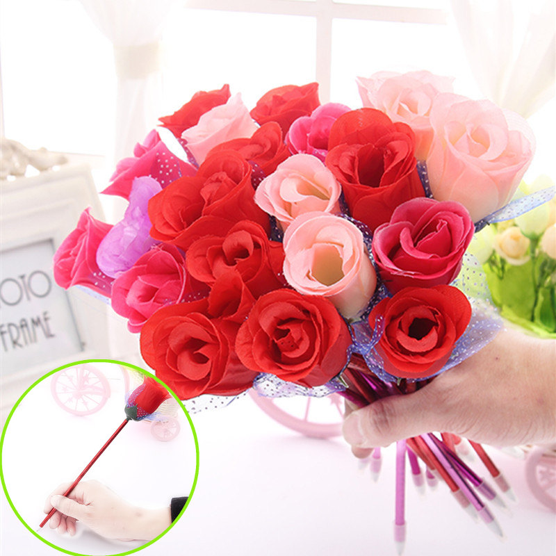 rose ballpoint pen New creative flower decoration beautiful office stationery personalized Valentines Day wedding gift