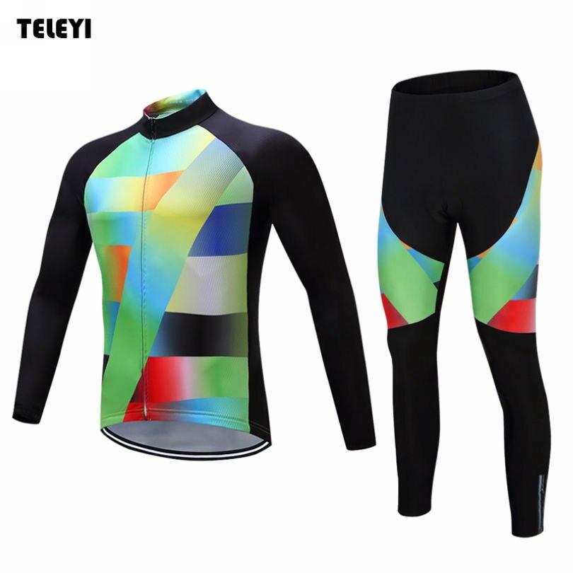 TELEYI Men Bike Pro Team Long Sleeve Ropa Ciclismo Cycling Jersey & Bib Pants Set Riding Bicycle Sportswear Kits Colorful