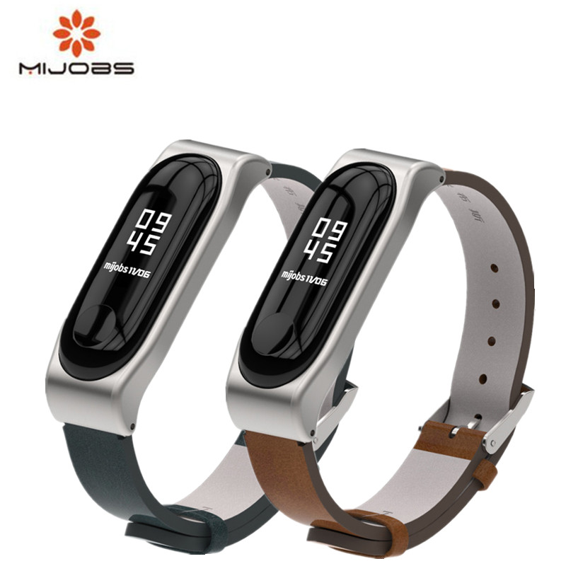 Mijobs Mi band 3 Leather + PU Strap For Xiaomi Mi Band 3 Smart Watch Screwless Bracelet mi band 3 Strap Miband 3 Strap Wrist
