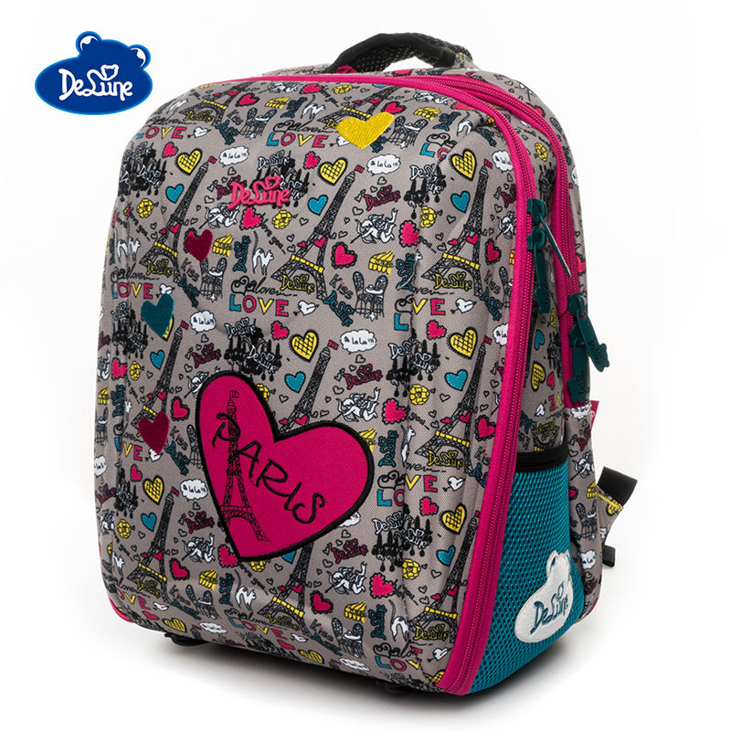 Delune Brand Girls Animal Cartoon Orthopedic Backpack Grade 1-5 Primary Book Schoolbag Boys High Quality Waterproof School Bags