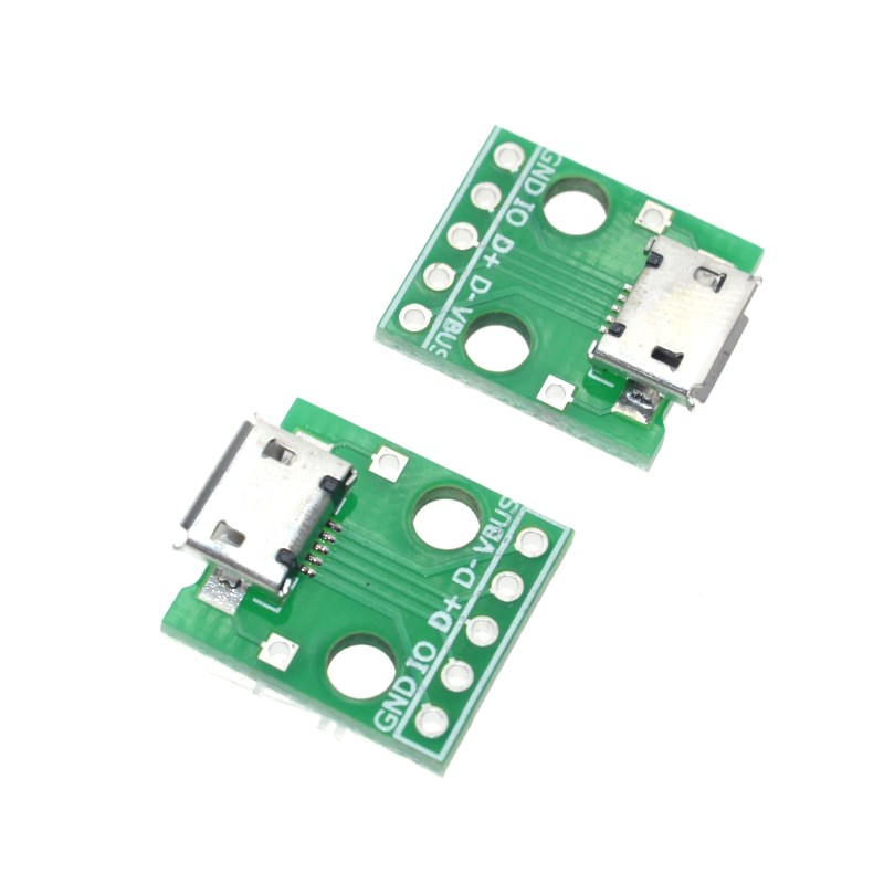 5pcs/lot MICRO USB to DIP Adapter 5pin female connector B type pcb converter pinboard 2.54