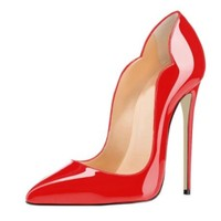 SHOFOO shoes, Elegant fashion free shipping, patent leather, 11 cm high heel shoes, pointed toe pumps, women's shoes. S