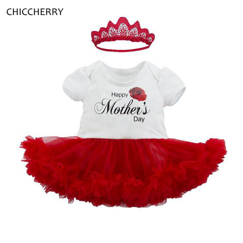 Happy Mothers Day Baby Girl Clothes Toddler Lace Romper Dress & Headband Newborn Tutu Set Vestido De Bebe Kids Party Outfits