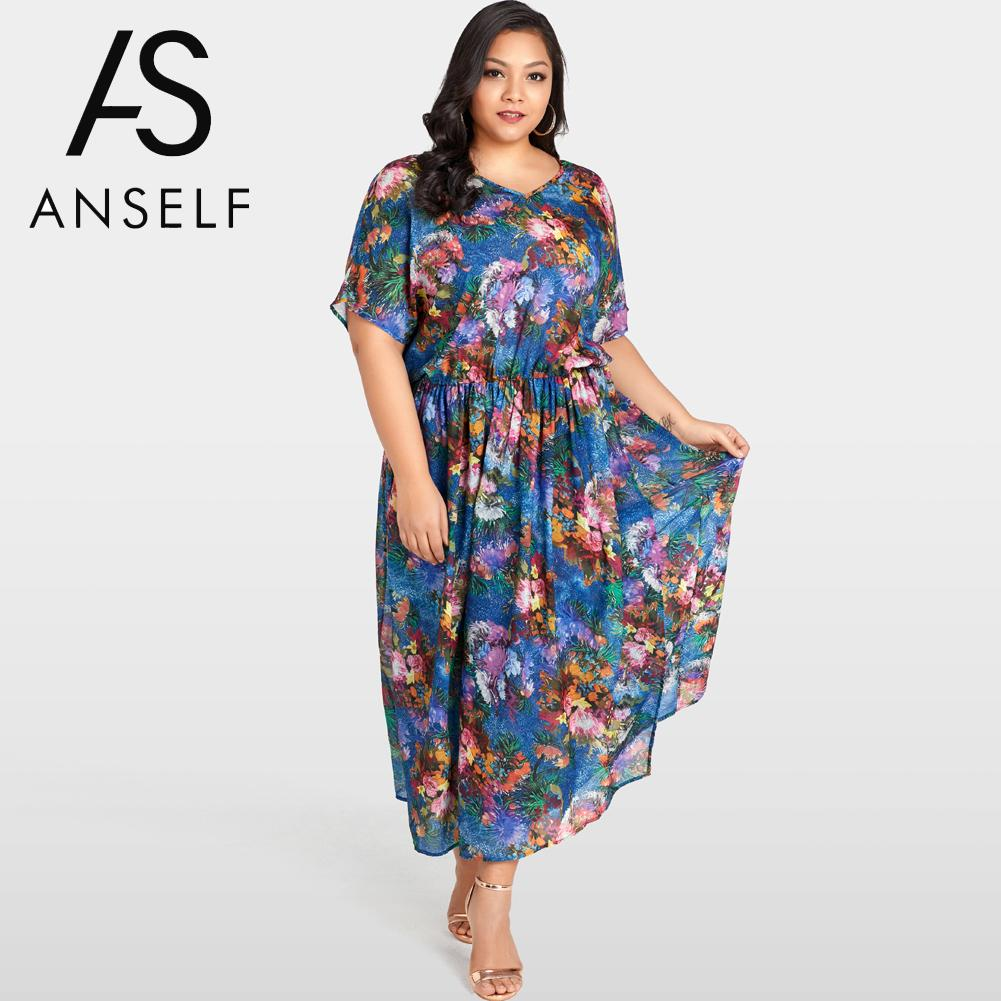 cc6145dfadd 2019 Summer Beach Boho Maxi Dress Plus Size Women Chiffon Dress Floral Print  Ruffle Elegant Slim