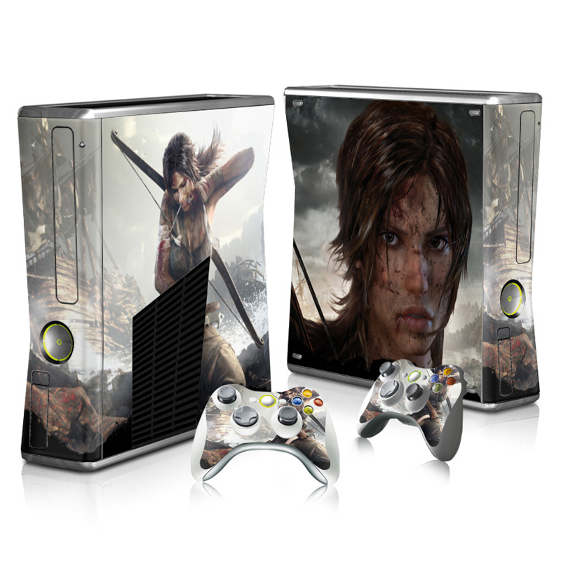Tomb Raider Lara Sexy Custom Skin Host Vinyl Protective Case Sticker & 2 Gamepad Decals Covers for Xbox 360 Slim Console