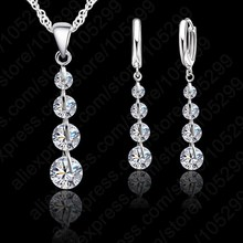 ФОТО romantic 925 sterling silver link chain crystal  pendant jewelry set  for women choker wedding  jewelry set