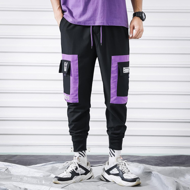 Black Purple Cargo Pants Men Japanese Streetwear Summer Men's Trousers Causal Hip Hop Men Cargo Joggers Pockets Harem Sweatpants