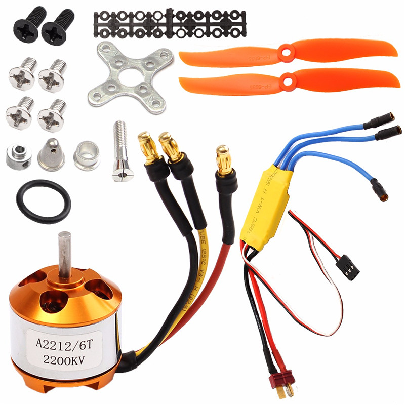 RC 2200KV Brushless Motor 2212-6 + 30A ESC + Free Mount foR rc Plane Helicopter x team xto 2212 850kv forward outrunner brushless motor for helicopter silver