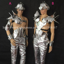 Catwalk Shows Men Silver Color Stage Ballrooom Costume Nightclub Bar Party Christmas Performance DJ Singer Clothes Suit