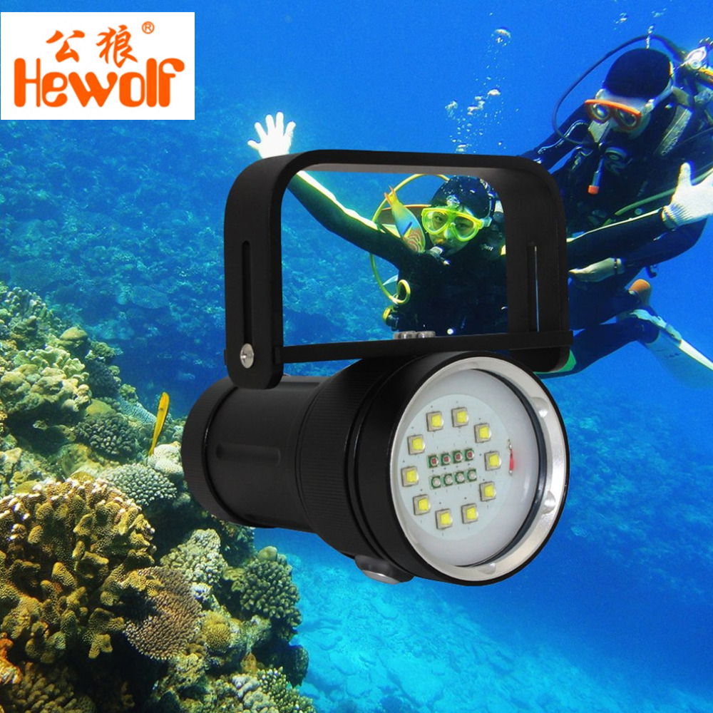 Hewolf 100W High-power Super Bright Underwater Photography Lamp Waterproof LED Fill Light Diving Flashlight Scuba Torch New high power led 6l2 professional diving flashlight magnetic control electrodeless dimming light waterproof flashlight