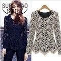 new fashion women's autumn fashion long-sleeve o-neck lace t-shirt basic