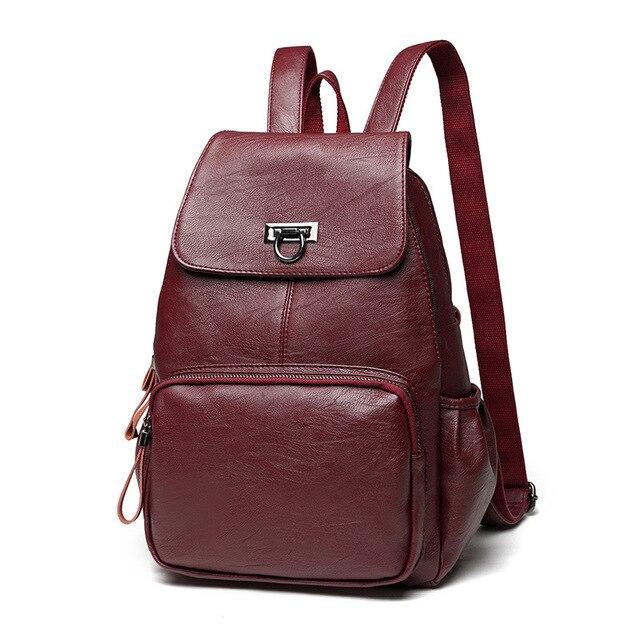 b4417ff4161da Bacisco casual einfarbig leder rucksack frauen designer rucksack für  teenager mädchen schulter tasche schule rucksäcke