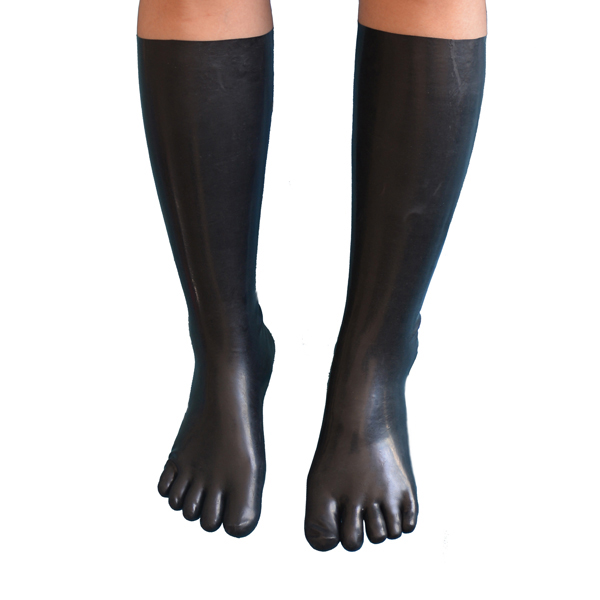 Latex Gummi Toe Socks Fetish Svart Latex Lång Toe Socks Fetish Gummi Toe Socks Lång