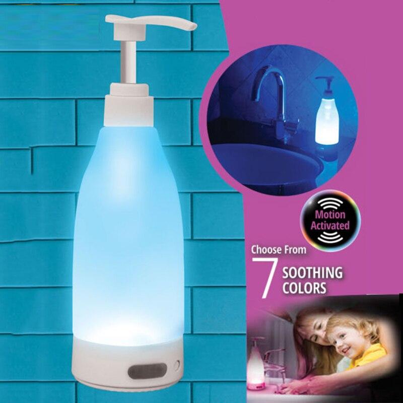 Unter Der Voraussetzung Beleuchtete Flüssigkeit Seife Flasche Brite Dispenser Motion-aktiviert Led 7 Beruhigende Farbe Guide Nachtlicht Gute Verwendung Für Haushalt Küche Schönheit & Gesundheit