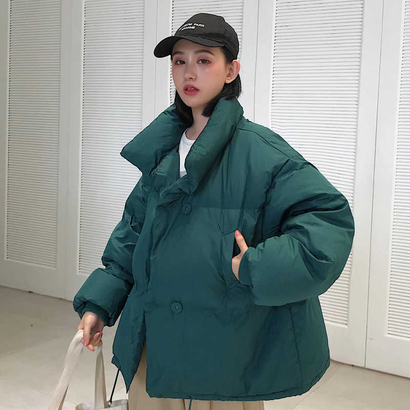 Koreanischen Stil 2019 Winter Jacke Frauen Stehen Kragen Solide Schwarz Weiß Weibliche Unten Mantel Lose Übergroßen Frauen Kurze Parka